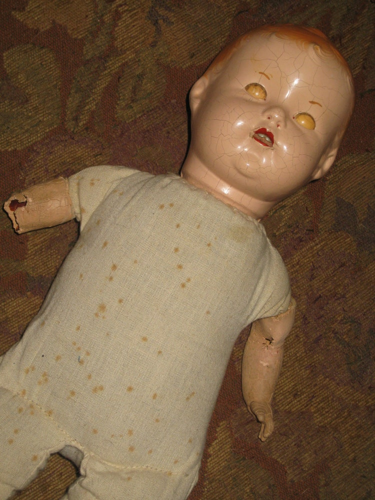 Antique Composition Doll Cloth Blinking Eyes Teeth By Piecesofolde