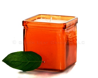 Mod Orange Candle - Square Orange Recycled Glass Container Candle