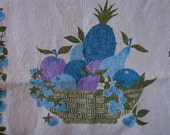 Vintage Linen Tea Towel with Fruit Bowl Motif in Blues, Purples and Greens