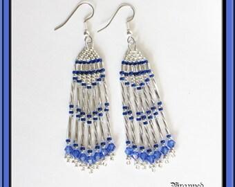 Royal Blue & Silver Earrings / Long Earrings / Beadweaving / Swarovski / Beaded Fringe / Seed Bead Earrings