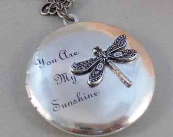 Sunshine Dragonfly,Locket,Silver Locket,Dragonfly,Antique Locket,Antique,Woodland,Love You,Fly,Wing. Handmade jewelry by valleygirldesigns.