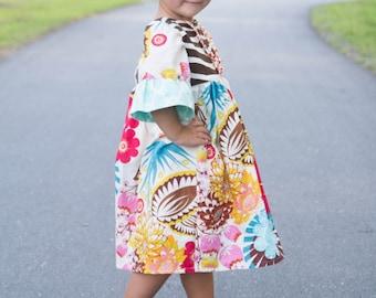 Dress Sewing Pattern, Long Sleeve Pattern, Girls Ruffle Dress, Winter Dress, Easy Dress Pattern Sweet Caroline 6m-8 plus doll
