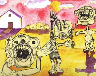 Creepy characters on a farm