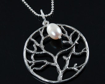 Antique Silver Tree of Life Necklace with White Freshwater Pearl - Wedding Bridesmaids Bridal Jewelry