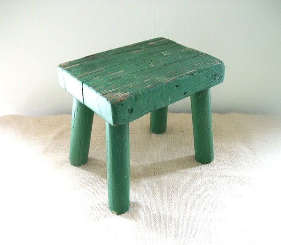Painted Wooden Stool ~ Vintage green paint wooden milking stool