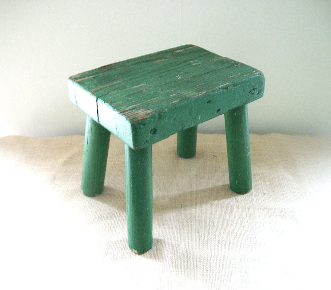 Vintage Green Paint Wooden Milking Stool By KennebecTrading. Full resolution‎  picture, nominally Width 1076 Height 941 pixels, picture with #448770.