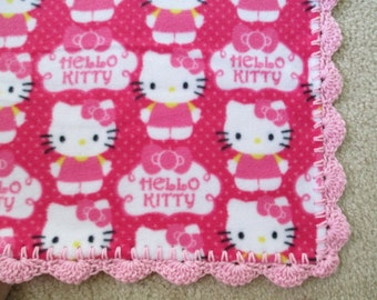 HELLO KITTY Baby Blanket, Pink CUPCAKE Fleece and Hand-crochet Trim
