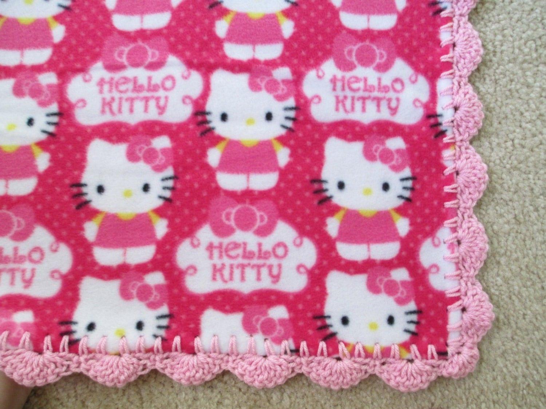 HELLO KITTY Baby Blanket Pink CUPCAKE Fleece and Hand-crochet