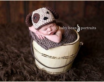 Newborn Baby Puppy Hat, Crochet Baby Puppy Outfit, Puppy Dog Hat For Newborn Photos, Newborn Puppy Hat For Photos, Puppy Hat Shower Gift,