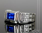Level 2 TARDIS Ring Solid Sterling Silver -  With Lab Sapphire and Diamond