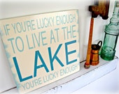 Lucky Enough To Live At The Lake- Shabby Chic Typography Sign-Antique White-Lake House Sign