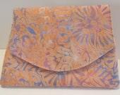 Peach and Purple Swirl Batik Wallet