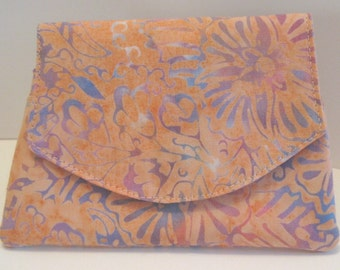 Peach and Purple Swirl Batik Wallet