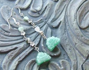 Aventurine Buddha and African Jade Heart Gemstone Earrings -Heart of Buddha- Pale Green, Black Lip Shell on Silver