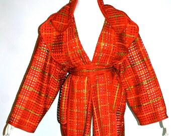 TODD OLDHAM Couture Vintage Silk Coat Ribbon Soutache Cutout Formal Jacket - AUTHENTIC -