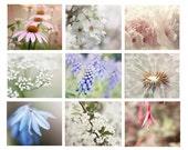 Flower Photographs Set of 9 print set summer flowers pink blue white lavender soft dreamy nursery bedroom decor shabby cottage chic 8x10