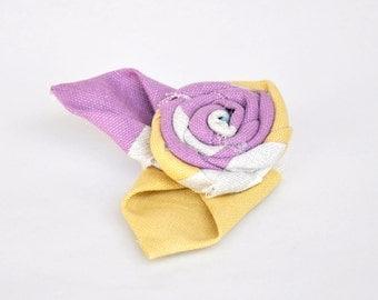 Fabric Flower Brooch - Handmade Flower Brooch -Yellow and Purple
