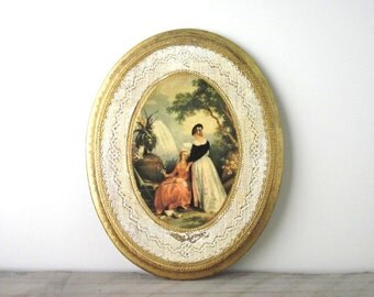Gold Wood Italian Florentine Oval Wall Plaque of Two Women