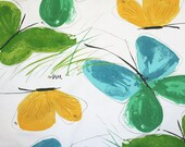 Large Vera tablecloth. Butterflies, cotton, ladybug, green, aqua, yellow, spring, summer, Easter.