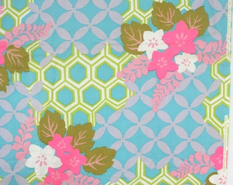 Yardage of tropical mod fabric. Floral, cotton, Lowenstain, pink, chartreuse, blue, avocado, lilac.