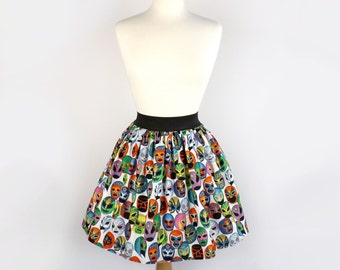 Lucha Libre Luchador Folklorico Day of the Dead Full Skirt