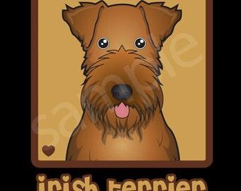 Irish Terrier Cartoon Heart T-Shirt Tee - Men's, Women's Ladies, Short, Long Sleeve, Youth Kids