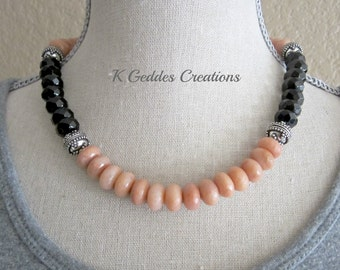 Peach and Black Color Block Necklace, Black Agate, Aventurine, Bali Sterling Silver, Gemstone Statement Necklace