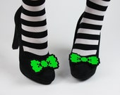 8 Bit Bow Shoe Clips, Pixel Bows, Neon Green and other colours- Black FRiday Cyber Monday
