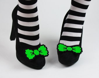 8 Bit Bow Shoe Clips, Pixel Bows, Neon Green and other colours