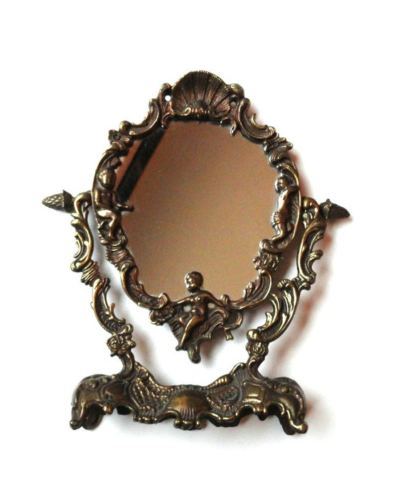 Antique Brass Vanity And Makeup Table Mirror With Cherubs