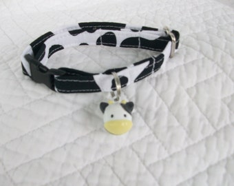 Holly Cow Cat Collar with Cow Jingle Bell Breakaway Cat Collar Custom Made