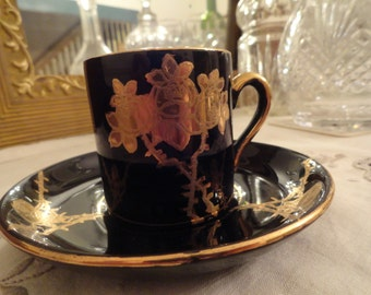 Vintage DEMITASSE Cup and Saucer Gold on Black English Gibson and Son