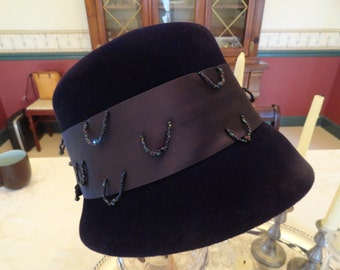 Mad Men Costume Vintage  1960s Bucket HAT Navy Blue Satin Band Bead Trim Jacomet French