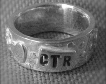 Personalized CTR Ring - SIlver Band style ring Custom made to order