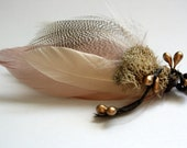 NAPA Feather Boutonniere in Blush, Cream and Grey with Preserved Moss and Gold/Bronze Millinery Berries