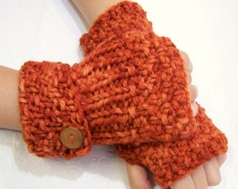 Merino Wool Fingerless Mittens Rust Orange, Button Cuff Fingerless Mittens, Knit Fingerless Gloves in Pumpkin, Winter Trends, Men, Women