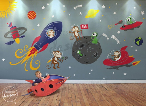 Items Similar To Rocket Ship Wall Decal, Space, Alien