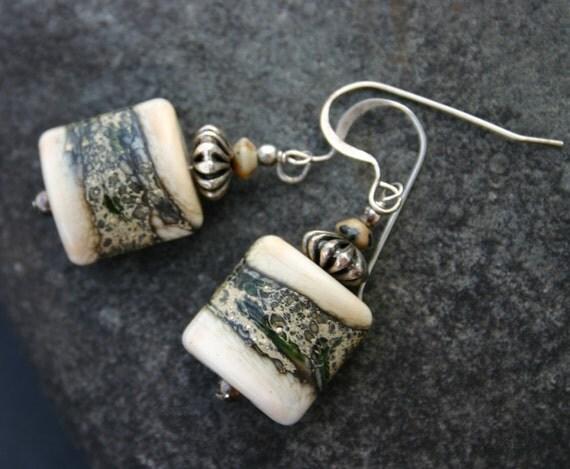 Artisan Lampwork Earrings, Cream, Green, Black, Sterling Silver