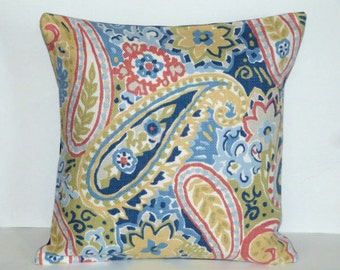 Throw Pillow Decorative Pillow Accent Pillow Cushion Covers Blue Red Yellow Green Cream Paisley 16 x 16