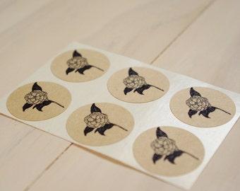 Floral Envelope Seal Stickers - Camellia Flower