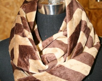 Chevron Stripe Infinity Minky Circle Scarf - Fashion Scarf -Cappuccino Brown Tan - Fabric Scarf - Multicolor - Extremely Soft - Cowl Scarf