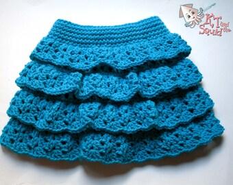 Crochet skirt pattern, easy ruffle skirt pattern, girls tiered ruffle skirt pattern, crochet pattern, okay to sell, crochet, pattern