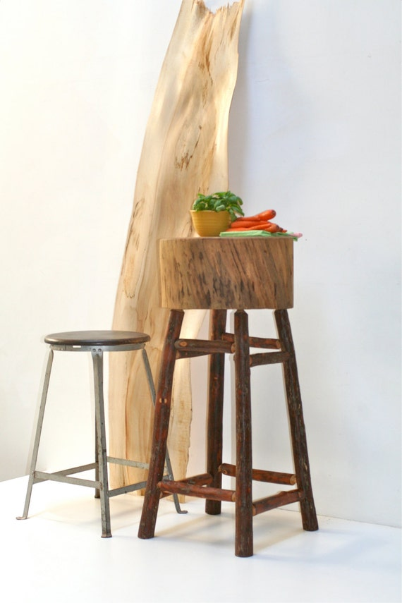 SALE Butcher Block Rustic Kitchen Island Stand by realwoodworks1