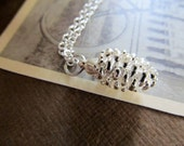 Real pinecone necklace, silver dipped pinecone on a sterling silver chain