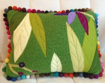 Leaf Floral Wool Felt Green Pillow Art