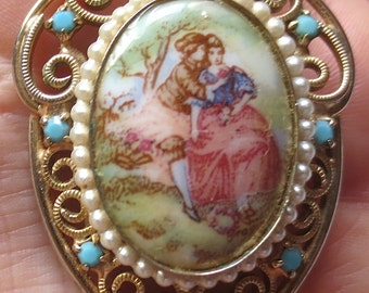 Lovely Vintage Hand Painted Enamel-Faux Pearl-Filigree Brooch Pin - Romantic Baroque-Style