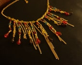 Goldtone Multi Chain Dropping Beads Spikes Bib Necklace 17 inches