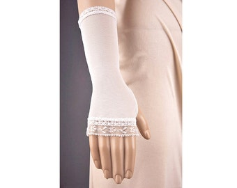 IVORY Wedding FINGERLESS Gloves,Short Wedding Gloves,Short Ivory Wedding Gloves,Lace Wedding Gloves,Ivory Lace Gloves,Custom Wedding Gloves