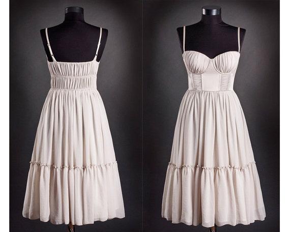Unique Dress,Prom Dress,Wedding DRESS for Vintage Lovers,Ballerina Dress,White midi dress,Cocktail Dress,Chiffon Dress,Boho Chic Dress