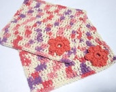 Dishcloths for Your Kitchen, Flowered Wash Cloths, Mother's Day Gift, Hostess Gift, All Cotton Dish Cloths in Coral and Purple